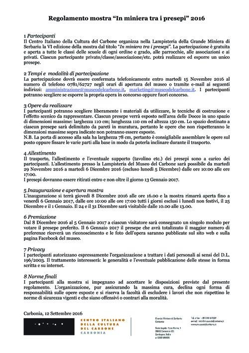 Regolamento In miniera tra i presepi 2016 copia