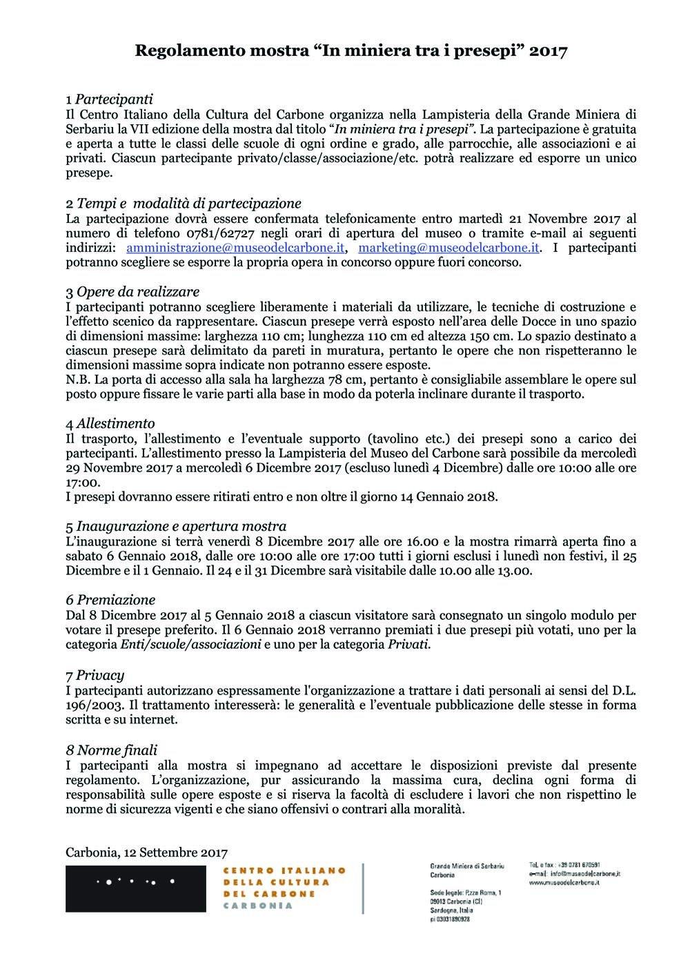 Regolamento In miniera tra i presepi 2017